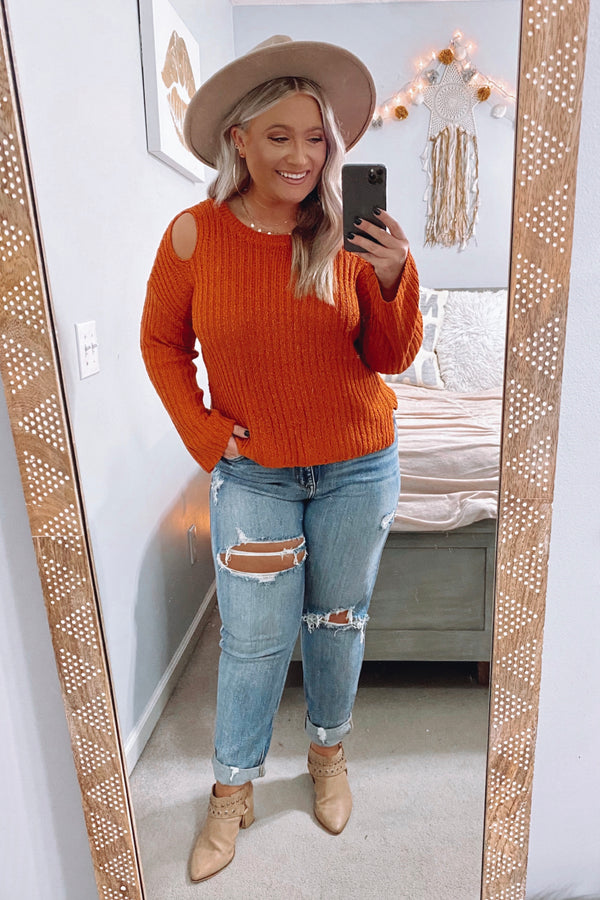 Keeping Crushes Cold Shoulder Sweater - Madison and Mallory