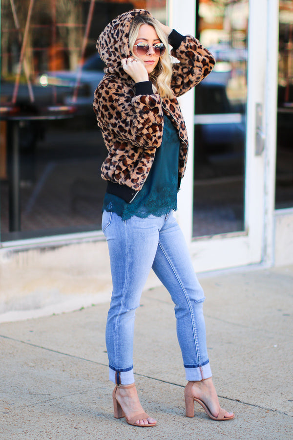 Into the Wild Leopard Faux Fur Bomber Jacket - Madison + Mallory