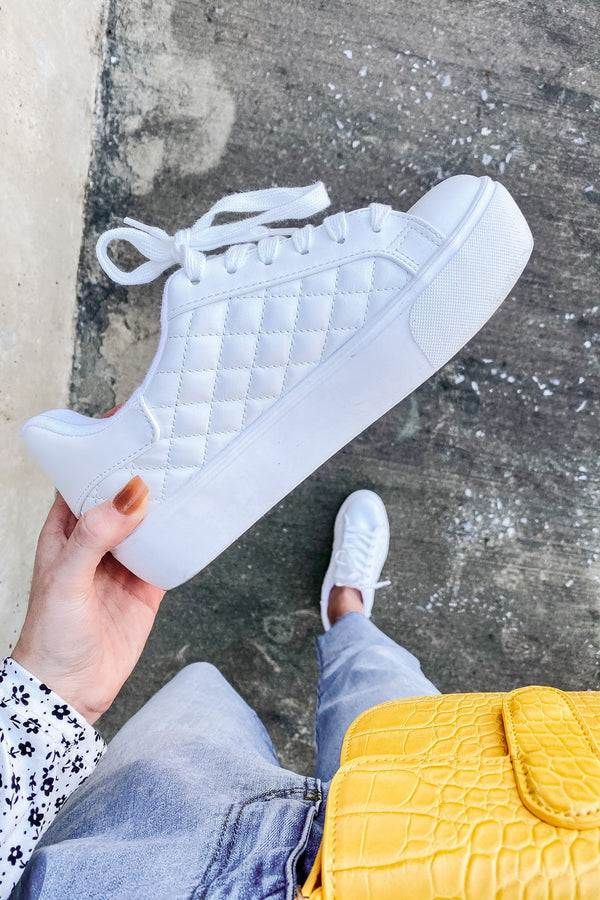 White / 5.5 Dylann Quilted Lace Up Sneakers - Madison and Mallory