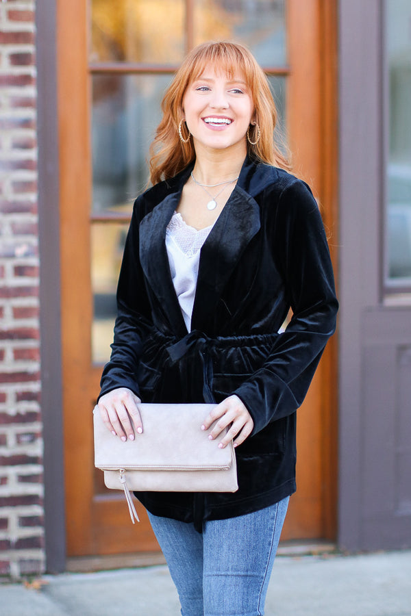 S / Black Suits You Velvet Tie Waist Jacket - Madison + Mallory