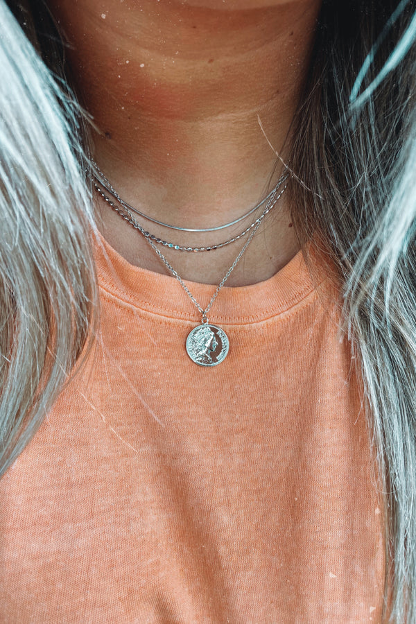 Silver Williamston Layered Coin Necklace - Madison and Mallory