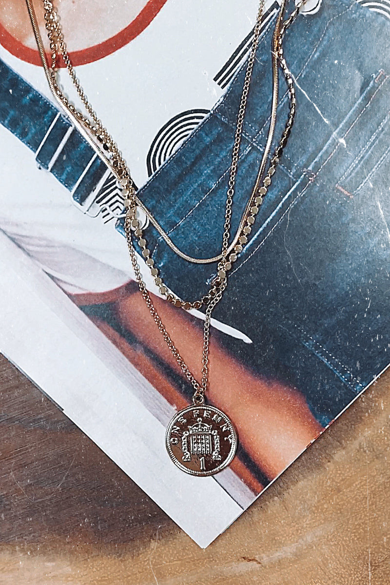 Gold Williamston Layered Coin Necklace - Madison and Mallory