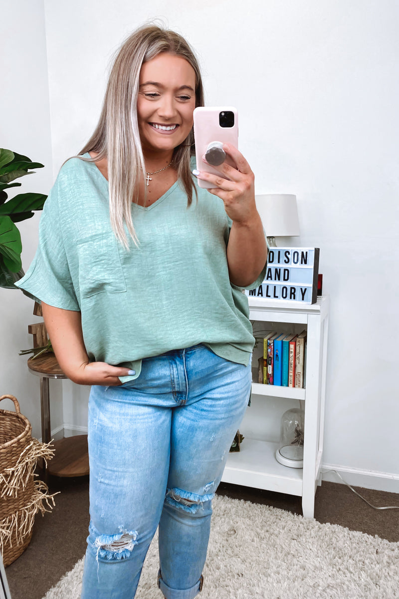 Sage / S Ventura Lightweight Knit Top - Sage - Madison and Mallory
