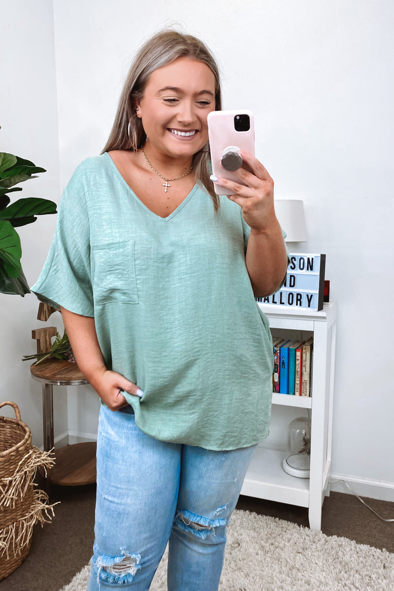 Ventura Lightweight Knit Top - Sage - Madison and Mallory