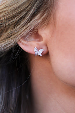 Silver Butterfly Away CZ Earrings - Madison and Mallory