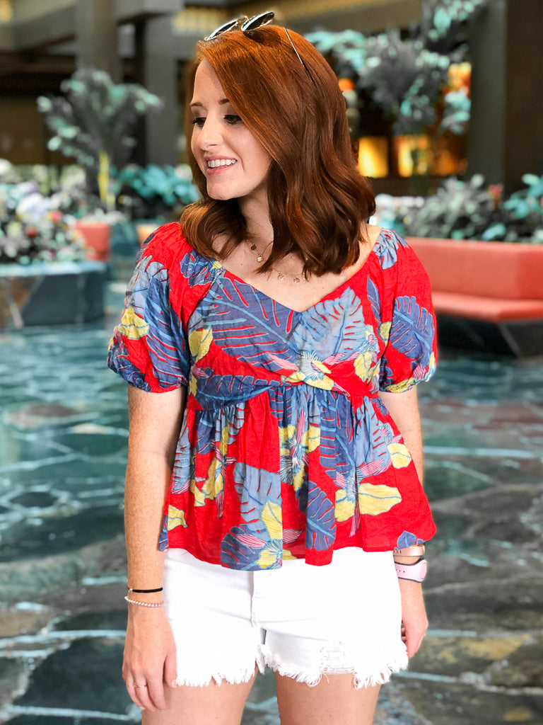 M / Red Tropical Flare Babydoll Top - Madison + Mallory