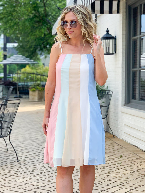 S / Pink Beyond the Rainbow Stripe Dress - Madison + Mallory