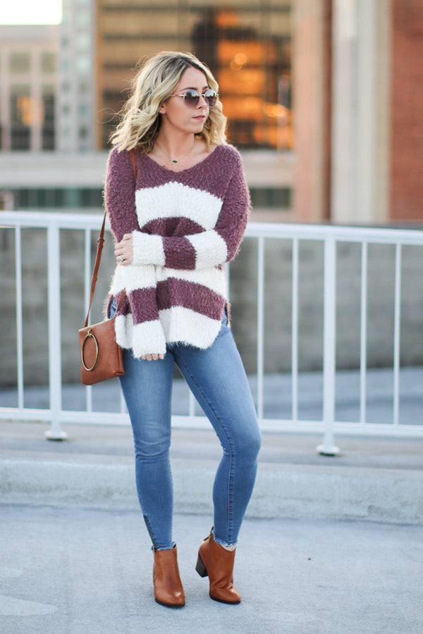 Bellarose Fuzzy Striped Sweater - Madison + Mallory