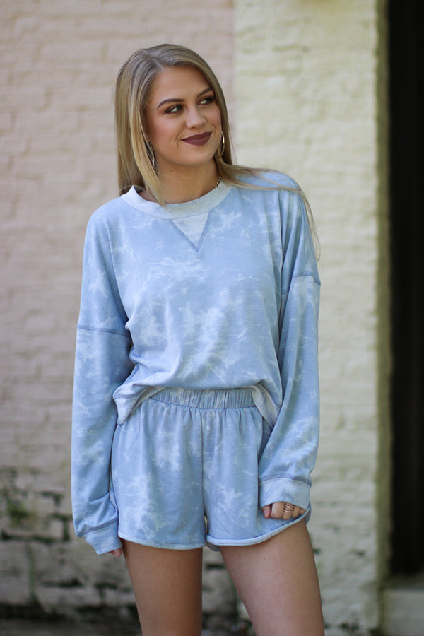 S / Dusty Blue Tie Dye Print Pullover - Madison + Mallory