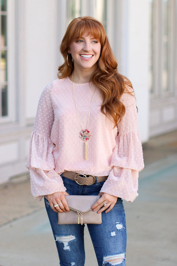 S / Blush Bittersweet Swiss Dot Ruffled Top - Madison + Mallory