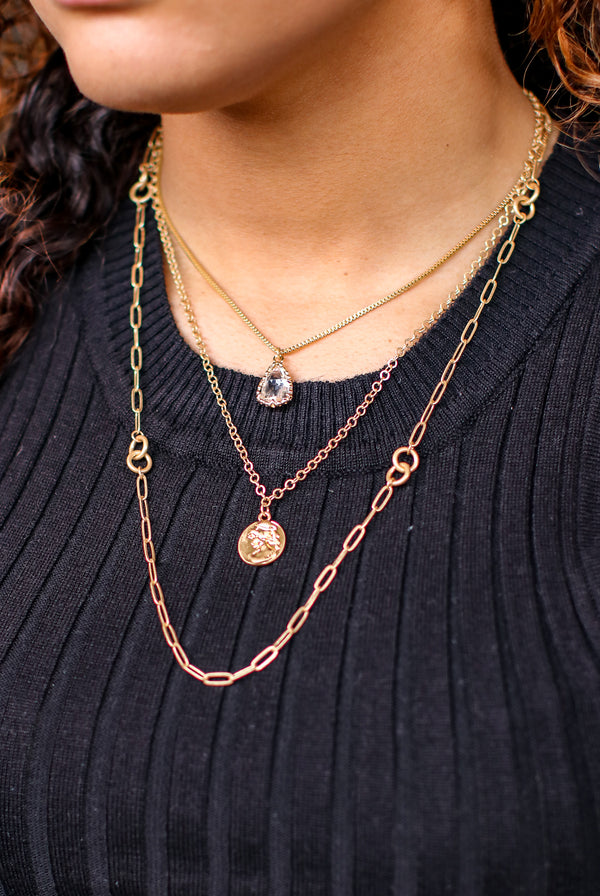 Gold Pradera Crystal Layered Necklace - Madison and Mallory