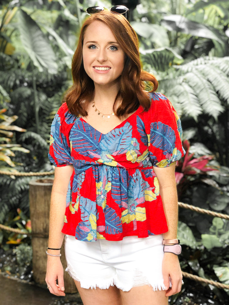 Tropical Flare Babydoll Top - Madison + Mallory