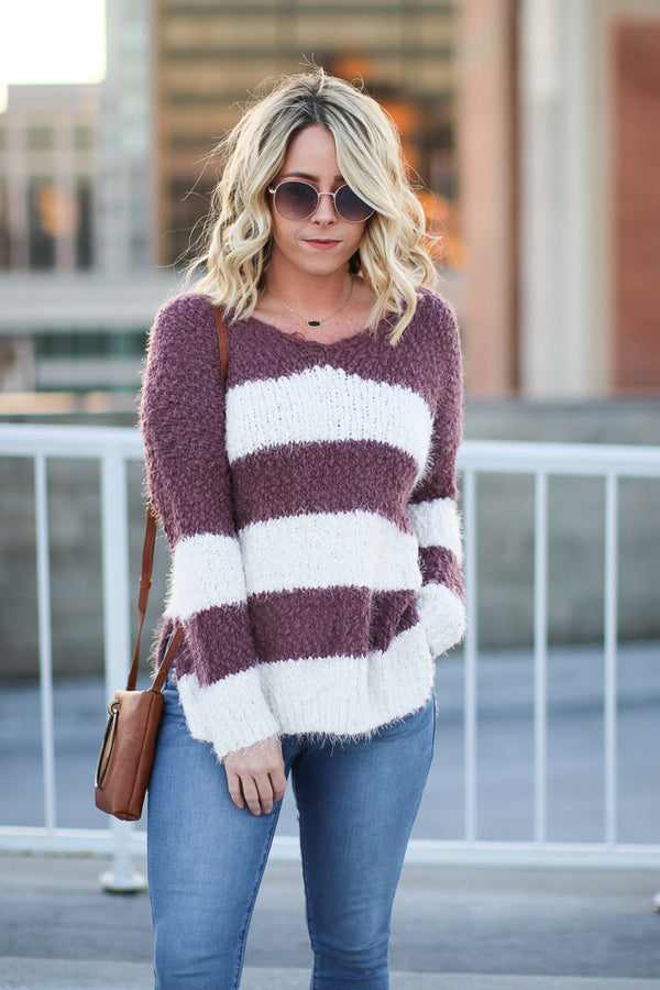 SM / Plum Bellarose Fuzzy Striped Sweater - Madison + Mallory