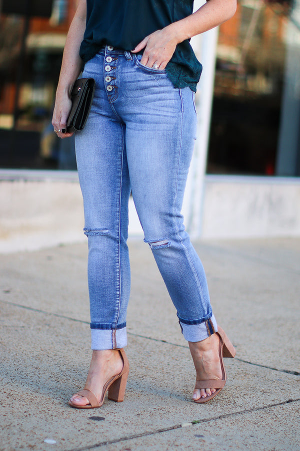 1/24 / Light Anthea Cuffed Hem Jeans - FINAL SALE - Madison + Mallory