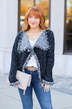 S / Black Class Act Textured Knit Cardigan - FINAL SALE - Madison and Mallory