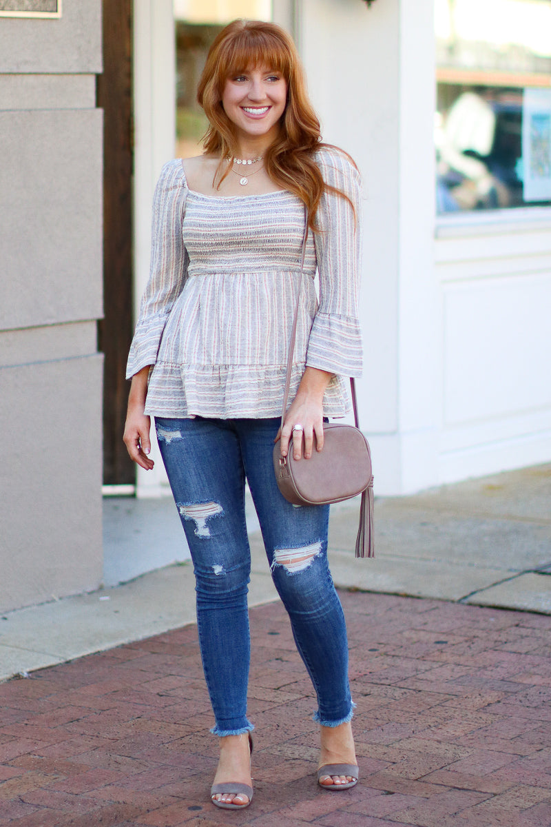 Jump Then Fall Smocked Striped Top - FINAL SALE - Madison + Mallory