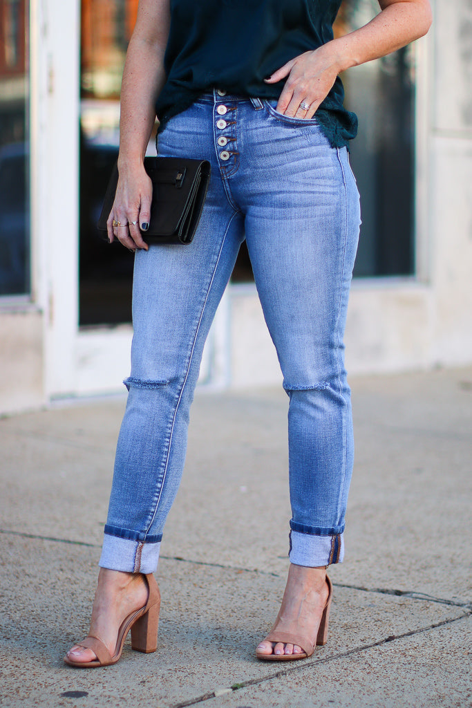 Anthea Cuffed Hem Jeans - FINAL SALE - Madison and Mallory