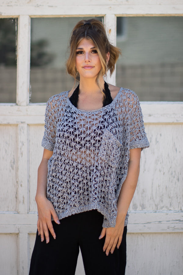 S / Gray Breezy Knit Top - Madison + Mallory