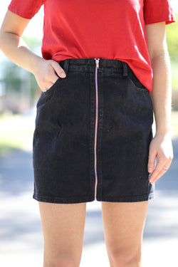 XS / Black Zipped Up Denim Skirt - Madison + Mallory