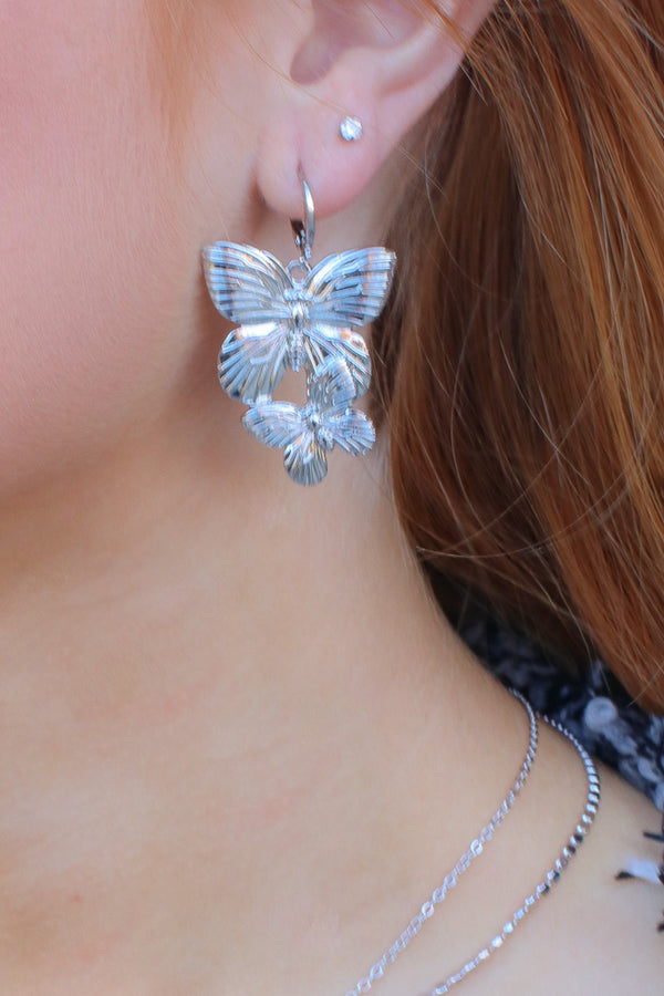Silver Butterfly Effect Earrings - Madison + Mallory