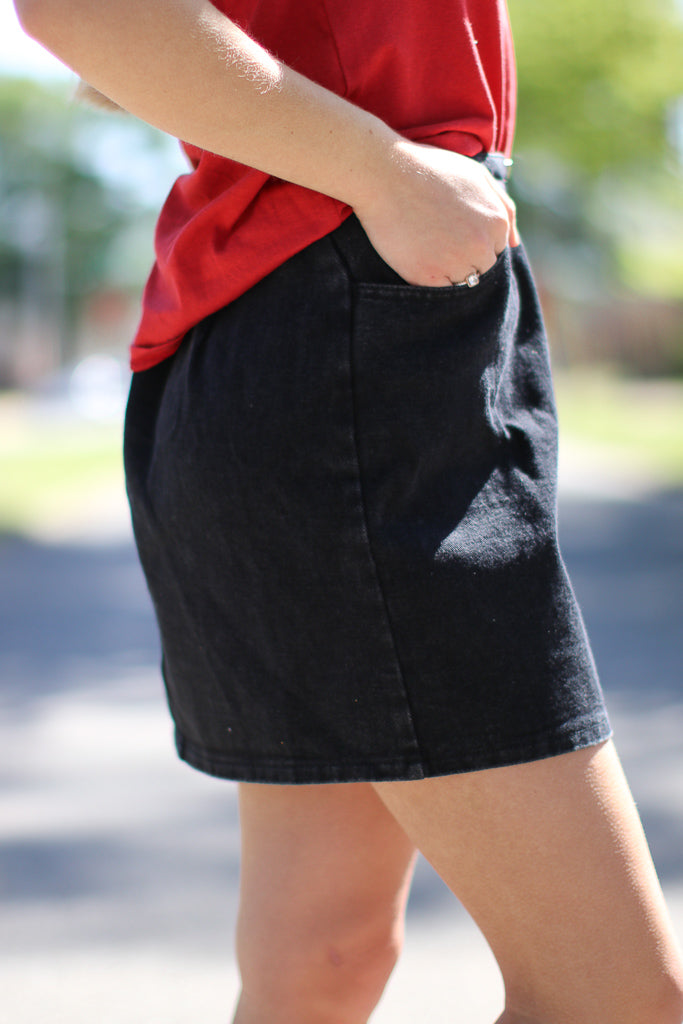 Zipped Up Denim Skirt - Madison + Mallory