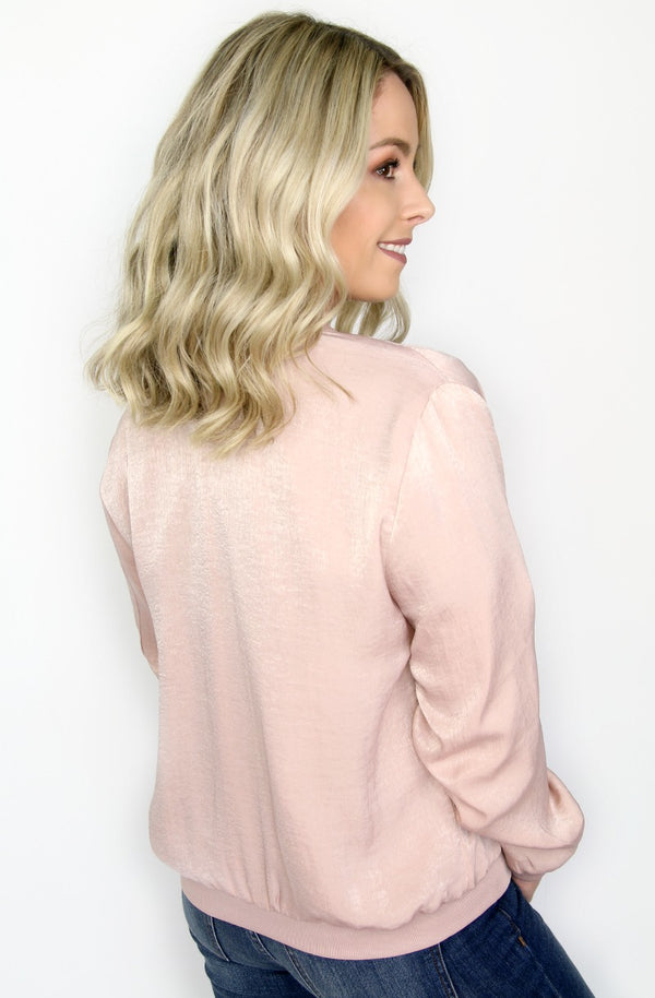 Blush Satin Bomber Jacket - Madison + Mallory