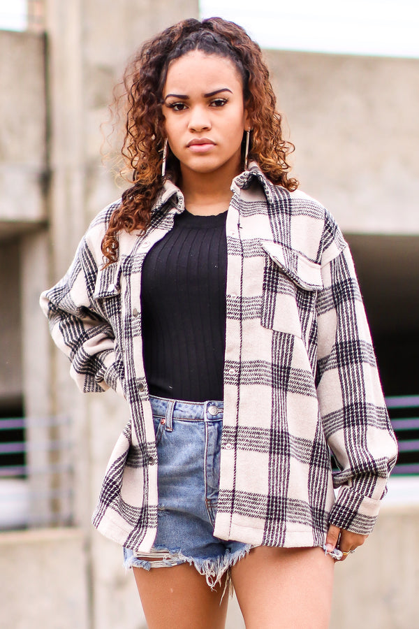 Glance Your Way Plaid Button Down Shacket - Tan - Madison and Mallory