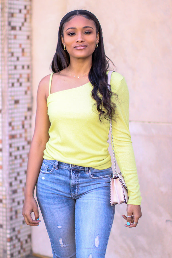 Chartreuse / S Absolute Stunner One Shoulder Sparkle Knit Top - Madison and Mallory