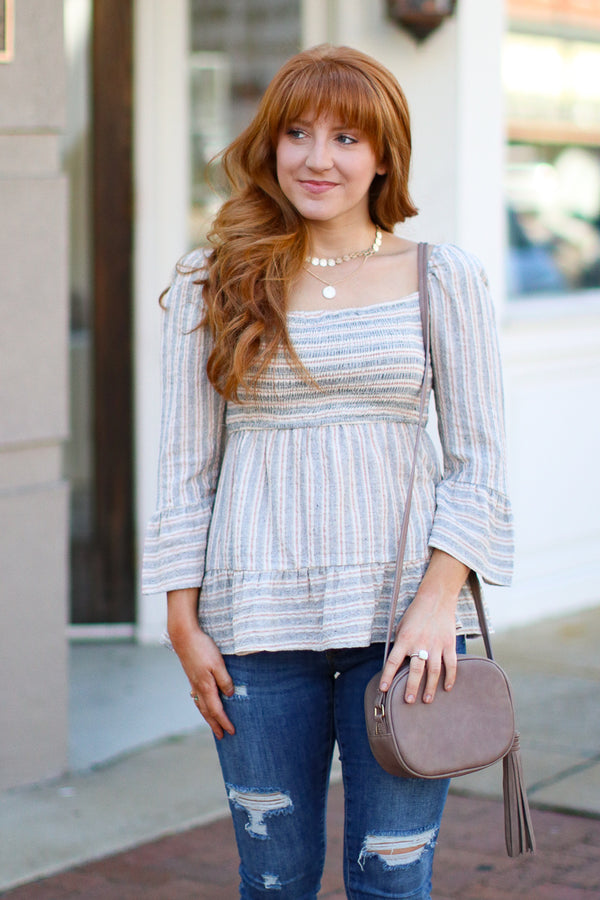 S / Heather Jump Then Fall Smocked Striped Top - Madison + Mallory