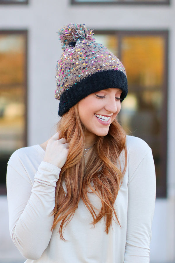 Khaki Top it Off Confetti Pom Pom Beanie - Khaki - Madison and Mallory