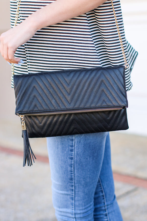 Black Fashion Forward Quilted Crossbody Clutch - Madison and Mallory