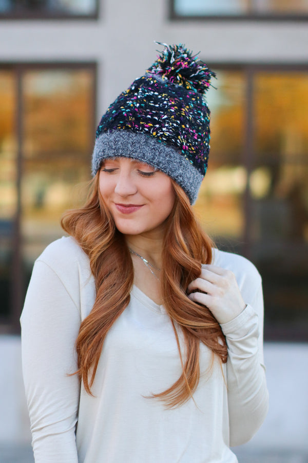 Black *DOORBUSTER* Top it Off Confetti Pom Pom Beanie - Black - Madison + Mallory