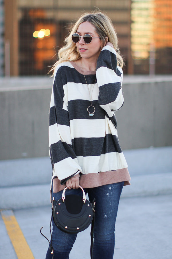 Straight Up Striped Sweater - Madison + Mallory