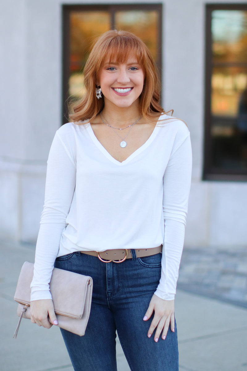 White / S Dakota Long Sleeve Top + MORE COLORS - Madison and Mallory