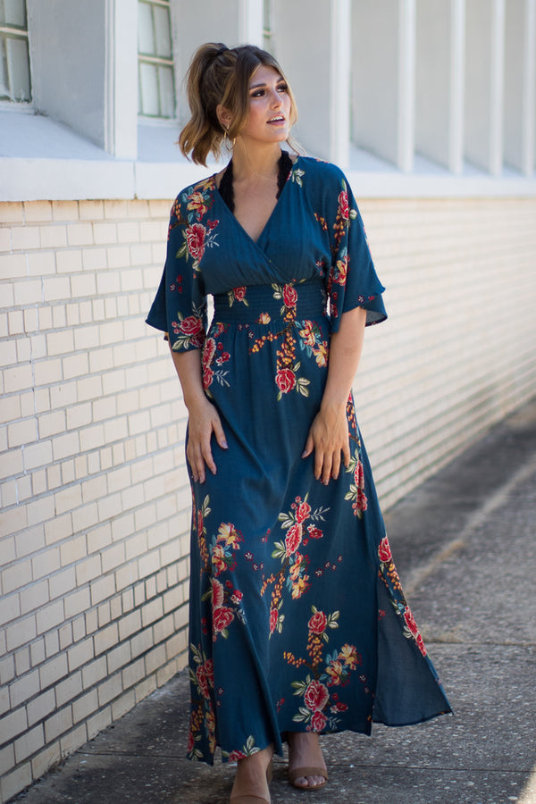 781a9e20bd7f43 ... S   Teal Floral Print Surplice Maxi Dress