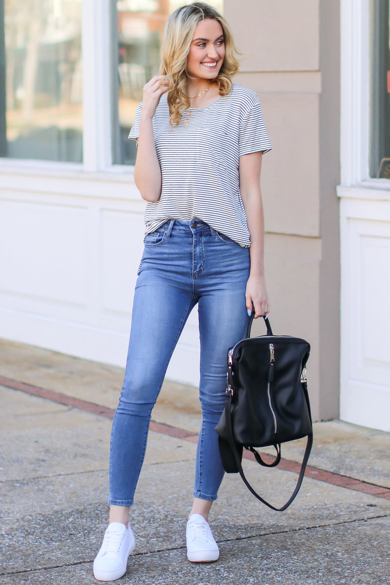 White / S All Yours Striped Pocket Top - White - Madison and Mallory