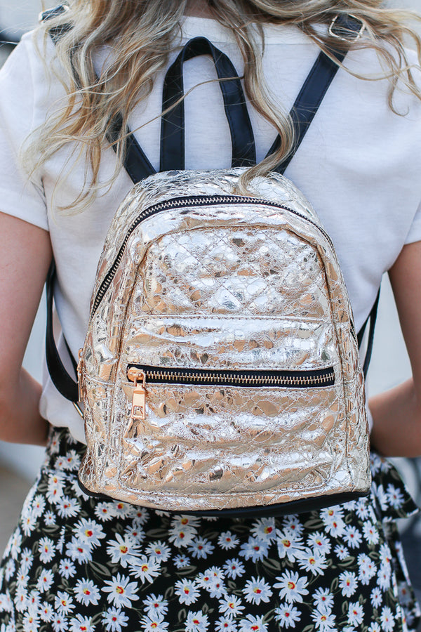 Gold Sparkle Up Metallic Crinkle Backpack - Madison + Mallory
