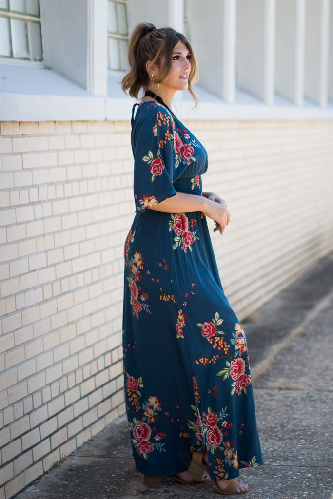 Floral Print Surplice Maxi Dress - Madison + Mallory