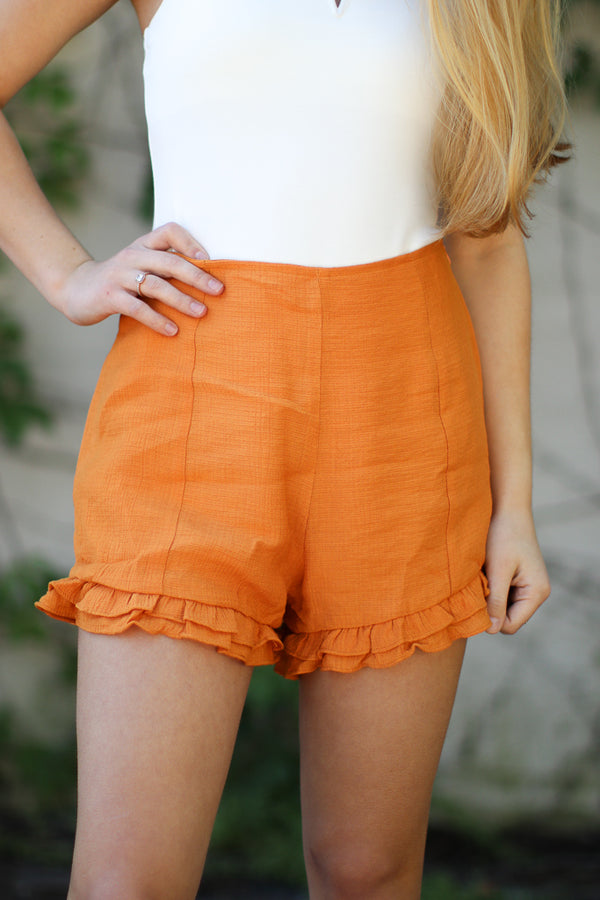 Ruffle Hem Shorts - FINAL SALE - Madison and Mallory