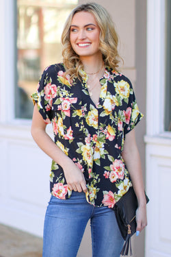S / Black Falling Petals Floral Print Button Down Shirt - Madison and Mallory