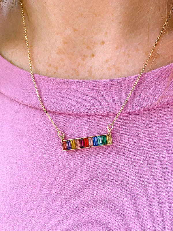 OS / Gold Radiant Rainbows Bar Necklace - Madison + Mallory
