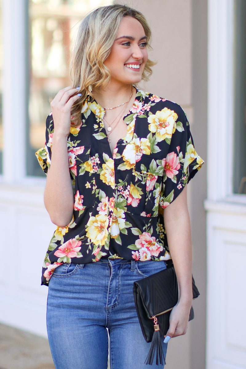 Falling Petals Floral Print Button Down Shirt - Madison and Mallory