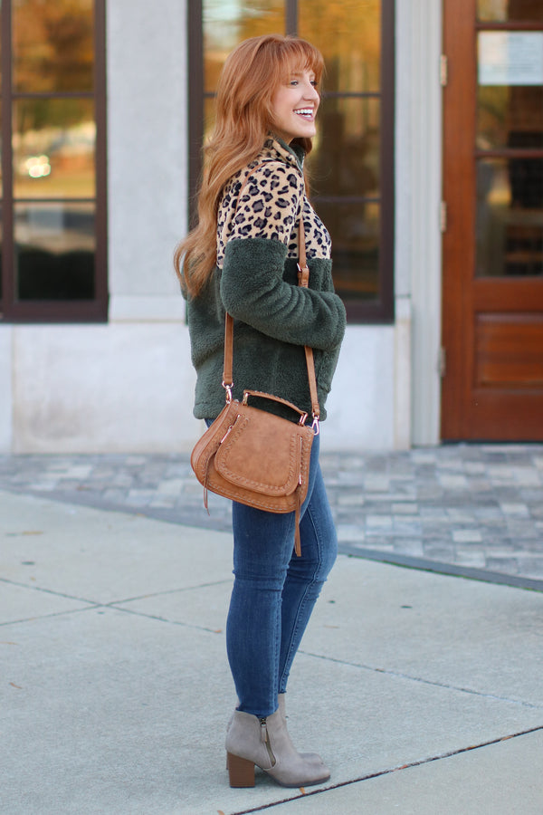 Keep Roaring Leopard Sherpa Pullover - Hunter Green - Madison + Mallory