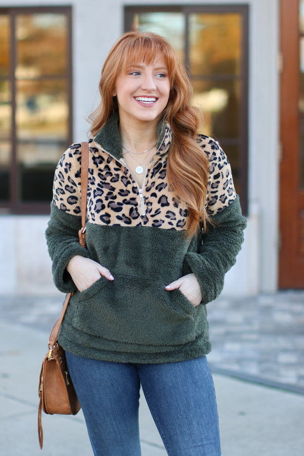 Hunter Green / S Keep Roaring Leopard Sherpa Pullover - Hunter Green - Madison + Mallory
