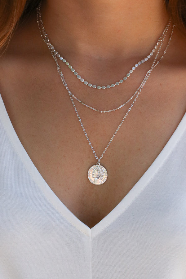 Silver Apollo Coin Layered Necklace - Madison and Mallory