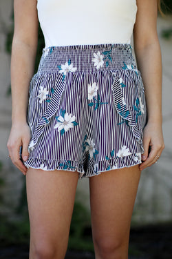 S / Navy/White Floral and Stripes Smocked Shorts - Madison + Mallory