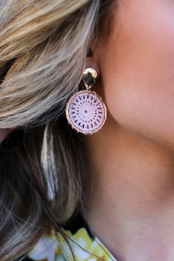 Pink Meet Me There Crochet Circle Earrings - Madison and Mallory