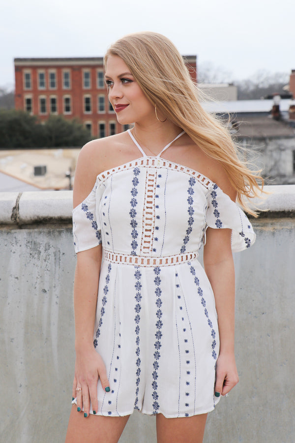 S / Off White Navy Embroidered Cold Shoulder Romper - FINAL SALE - Madison + Mallory
