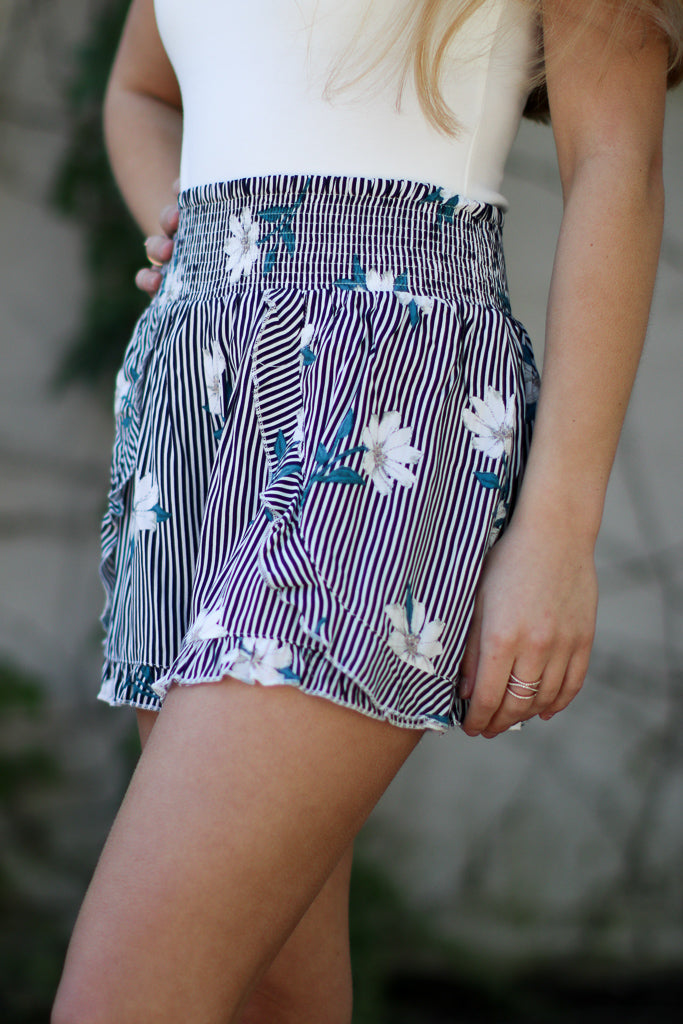 Floral and Stripes Smocked Shorts - Madison + Mallory