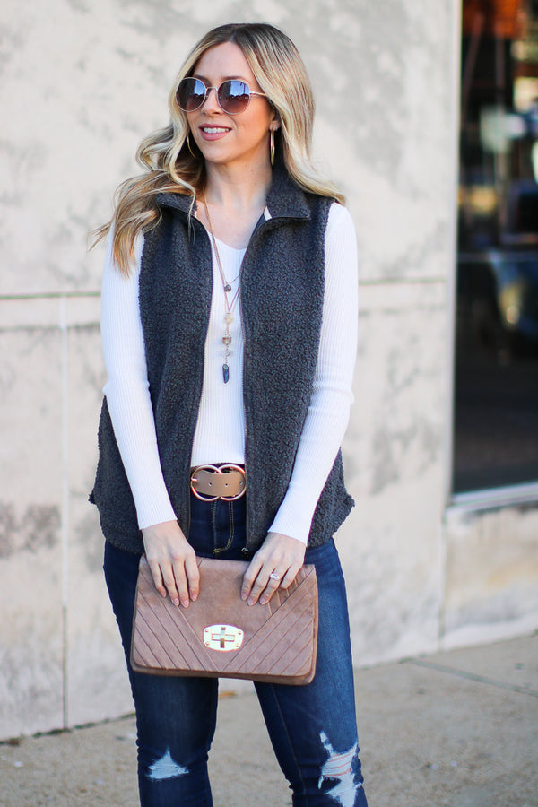 S / Gray Boucle Knit Zip Front Vest | CURVE - Madison + Mallory